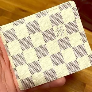NEW WHITE DAMIER MENS LEATHER WALLET